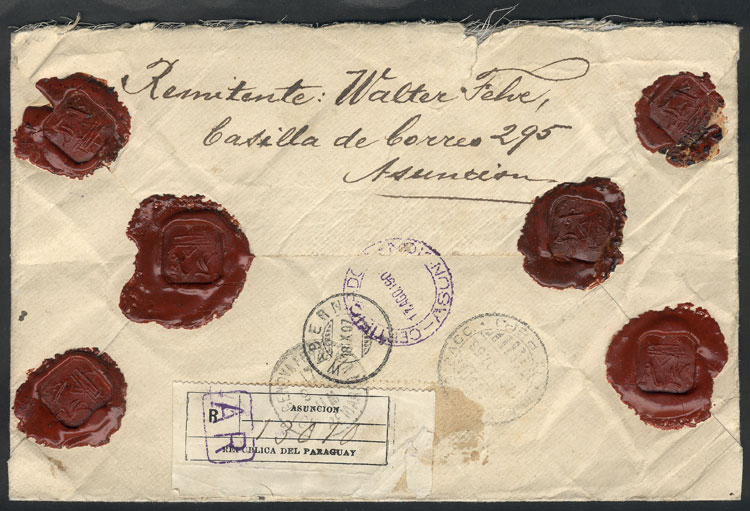Lot 861 - Paraguay postal history -  Guillermo Jalil - Philatino Auction # 2044 WORLDWIDE + ARGENTINA: General October auction