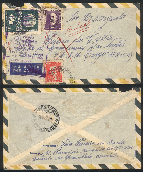 Lot 1319 - brazil postal history -  Guillermo Jalil - Philatino Auction # 2048 WORLDWIDE + ARGENTINA: General November auction