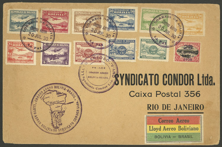 Lot 1105 - bolivia postal history -  Guillermo Jalil - Philatino Auction # 2048 WORLDWIDE + ARGENTINA: General November auction