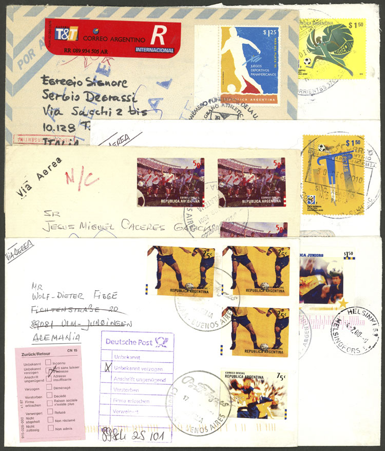 Lot 12 - topic football postal history -  Guillermo Jalil - Philatino Auction # 2048 WORLDWIDE + ARGENTINA: General November auction