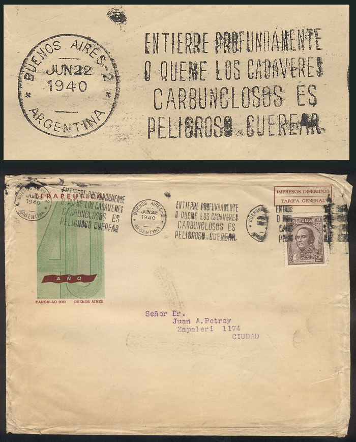 Lot 20 - TOPIC MEDICINE postal history -  Guillermo Jalil - Philatino Auction # 2048 WORLDWIDE + ARGENTINA: General November auction
