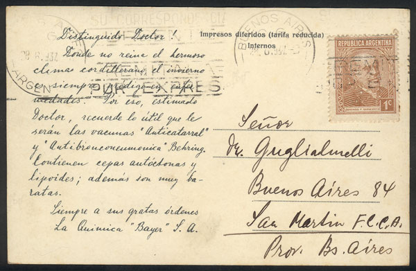 Lot 19 - TOPIC MEDICINE postal history -  Guillermo Jalil - Philatino Auction # 2048 WORLDWIDE + ARGENTINA: General November auction