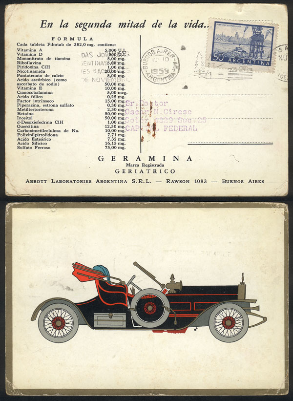 Lot 23 - TOPIC MEDICINE postal history -  Guillermo Jalil - Philatino Auction # 2048 WORLDWIDE + ARGENTINA: General November auction