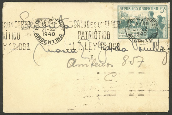Lot 928 - Argentina postal history -  Guillermo Jalil - Philatino Auction # 2049 ARGENTINA: