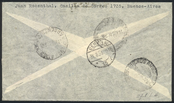 Lot 922 - Argentina postal history -  Guillermo Jalil - Philatino Auction # 2049 ARGENTINA:
