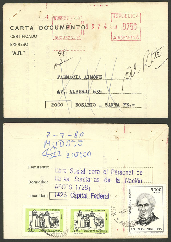 Lot 241 - Argentina postal history -  Guillermo Jalil - Philatino Auction # 2050 ARGENTINA: Special December auction