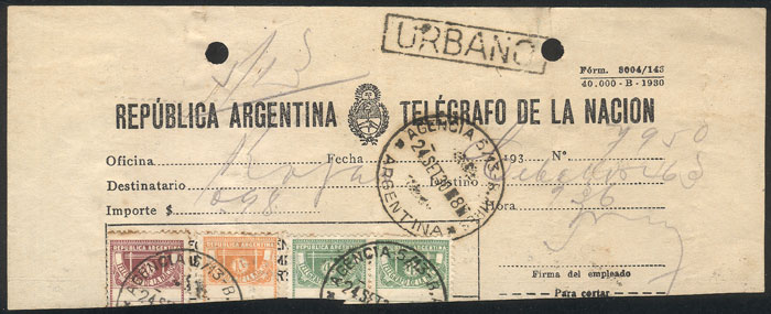 Lot 1812 - Argentina telegraph stamps -  Guillermo Jalil - Philatino Auction # 2103 ARGENTINA:
