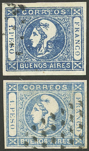 Lot 14 - Argentina cabecitas -  Guillermo Jalil - Philatino Auction # 2103 ARGENTINA: