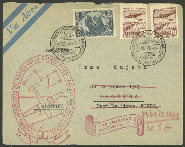 Lot 1966 - Argentina postal history -  Guillermo Jalil - Philatino Auction # 2103 ARGENTINA: