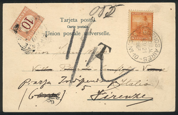 Lot 1905 - Argentina postal history -  Guillermo Jalil - Philatino Auction # 2103 ARGENTINA: