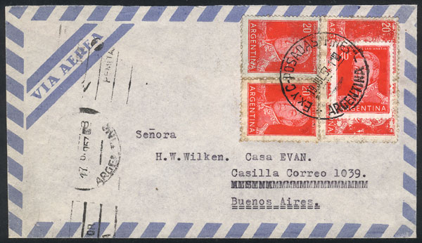 Lot 1985 - Argentina postal history -  Guillermo Jalil - Philatino Auction # 2103 ARGENTINA: