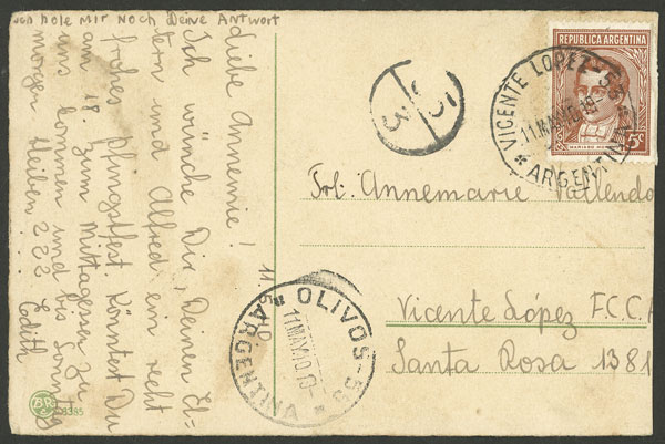 Lot 852 - Argentina postal history -  Guillermo Jalil - Philatino Auction # 2104 ARGENTINA: General auction with many
