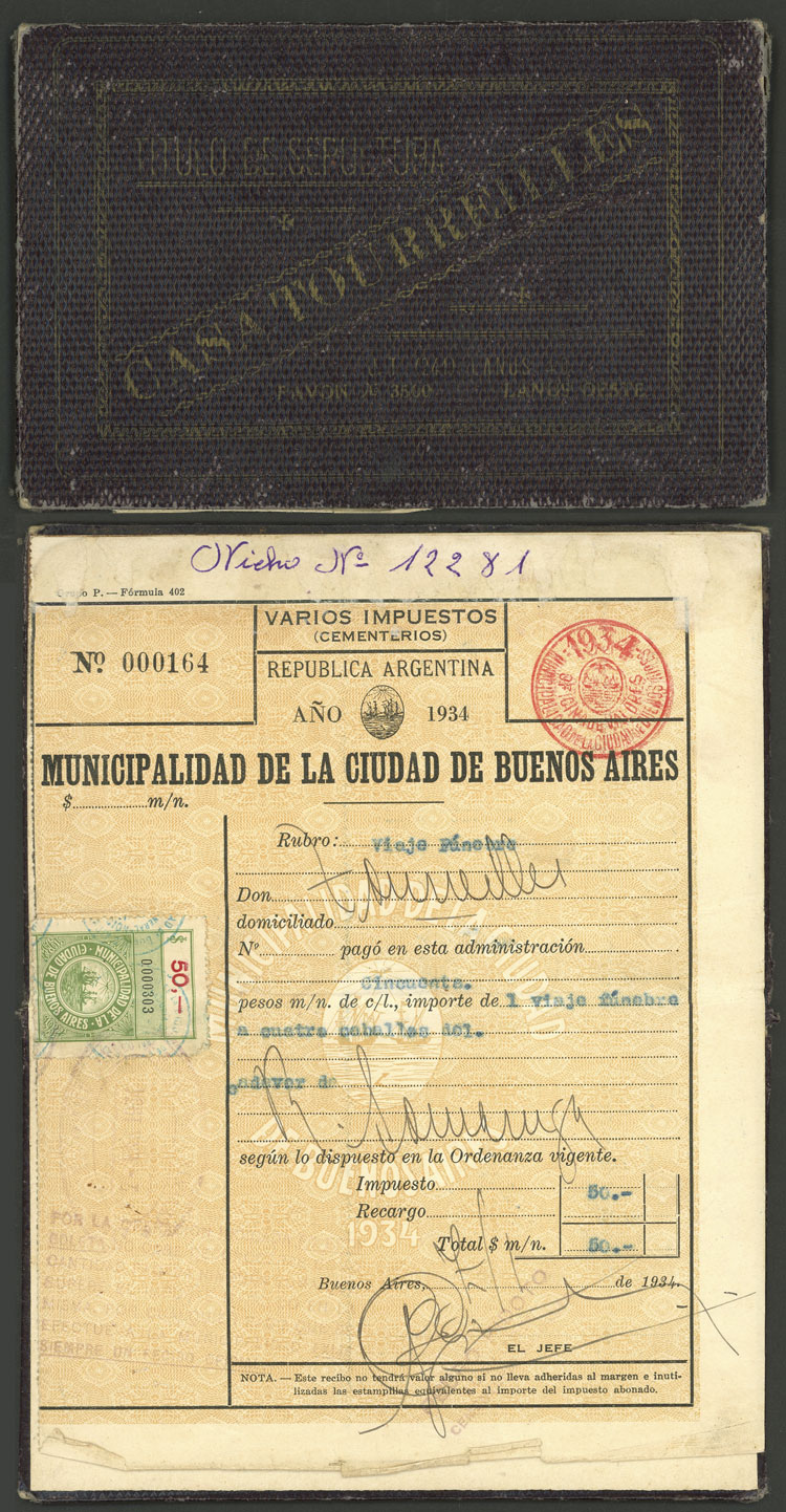 Lot 442 - Argentina revenue stamps -  Guillermo Jalil - Philatino Auction # 2110 WORLDWIDE + ARGENTINA: End of Summer auction