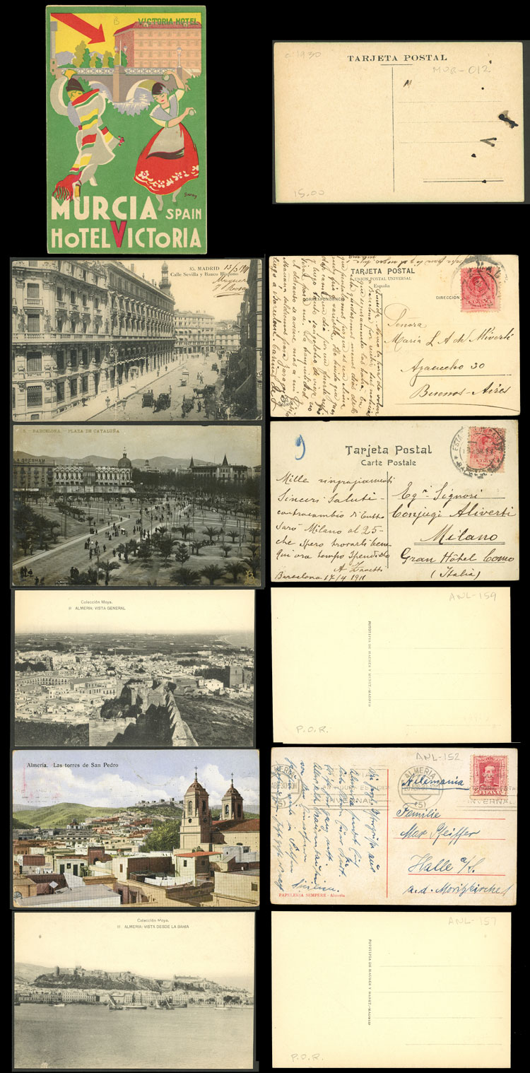 Lot 756 - Spain postcards -  Guillermo Jalil - Philatino Auction # 2110 WORLDWIDE + ARGENTINA: End of Summer auction