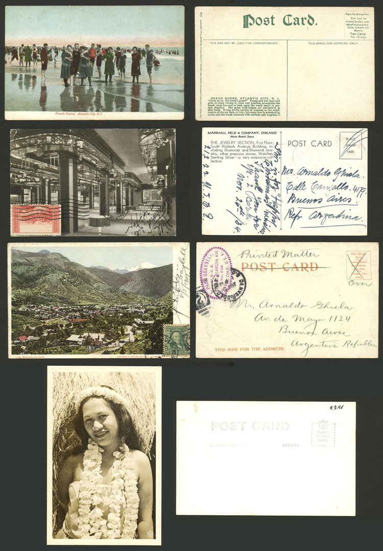 Lot 787 - united states postcards -  Guillermo Jalil - Philatino Auction # 2110 WORLDWIDE + ARGENTINA: End of Summer auction