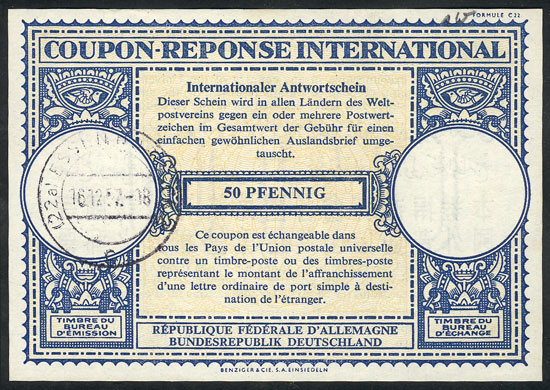 Lot 47 - germany international reply coupons -  Guillermo Jalil - Philatino Auction # 2110 WORLDWIDE + ARGENTINA: End of Summer auction