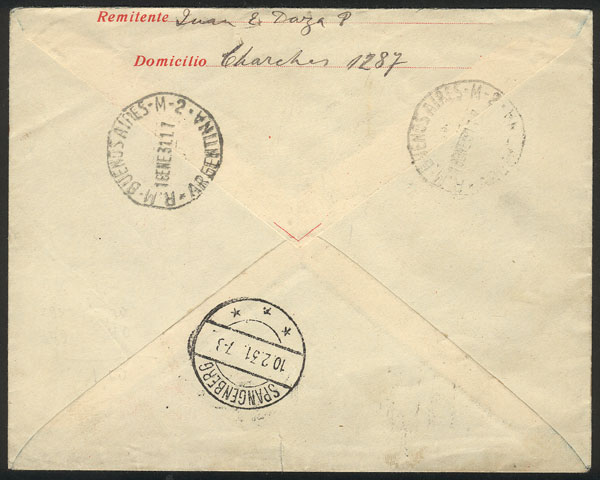 Lot 344 - Argentina postal history -  Guillermo Jalil - Philatino Auction # 2110 WORLDWIDE + ARGENTINA: End of Summer auction