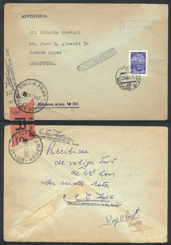 Lot 384 - Argentina postal history -  Guillermo Jalil - Philatino Auction # 2110 WORLDWIDE + ARGENTINA: End of Summer auction