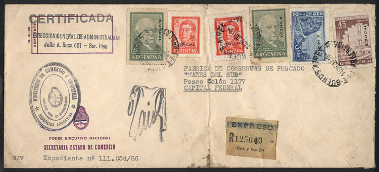 Lot 303 - Argentina official stamps - postal history -  Guillermo Jalil - Philatino Auction # 2110 WORLDWIDE + ARGENTINA: End of Summer auction