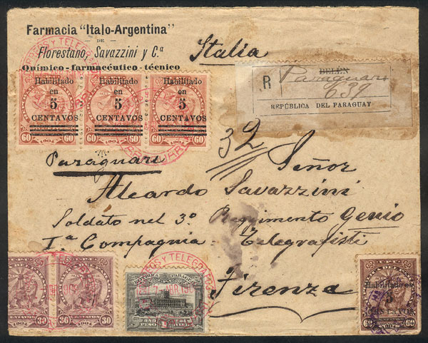 Lot 1159 - Paraguay postal history -  Guillermo Jalil - Philatino Auction # 2110 WORLDWIDE + ARGENTINA: End of Summer auction