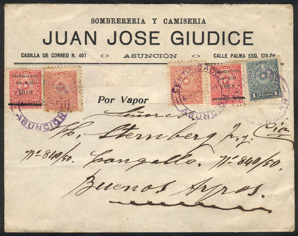 Lot 1160 - Paraguay postal history -  Guillermo Jalil - Philatino Auction # 2110 WORLDWIDE + ARGENTINA: End of Summer auction
