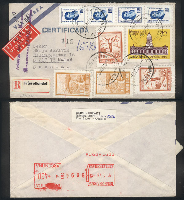Lot 403 - Argentina postal history -  Guillermo Jalil - Philatino Auction # 2110 WORLDWIDE + ARGENTINA: End of Summer auction