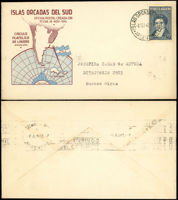 Lot 18 - ARGENTINE ANTARCTICA - ISLAS ORCADAS postal history -  Guillermo Jalil - Philatino Auction # 2112 ARGENTINA: Auction with interesting lots at budget prices!