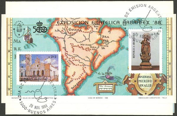 Lot 1231 - Argentina souvenir sheets -  Guillermo Jalil - Philatino Auction # 2112 ARGENTINA: Auction with interesting lots at budget prices!