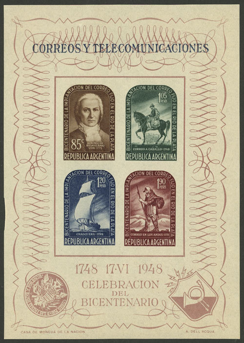 Lot 1205 - Argentina souvenir sheets -  Guillermo Jalil - Philatino Auction # 2112 ARGENTINA: Auction with interesting lots at budget prices!