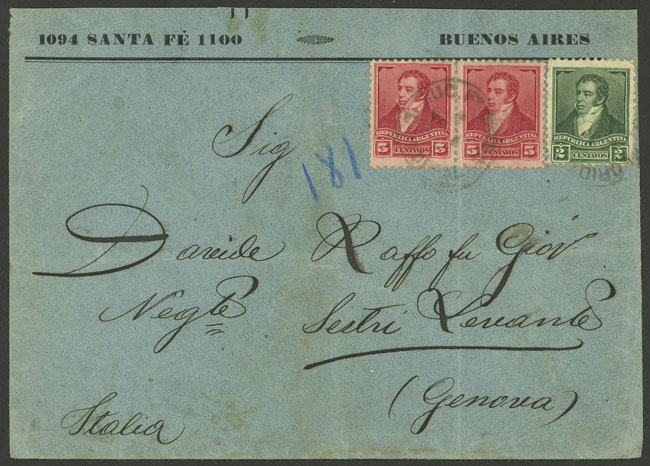 Lot 899 - Argentina postal history -  Guillermo Jalil - Philatino Auction # 2113 ARGENTINA: