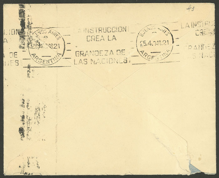 Lot 928 - Argentina postal history -  Guillermo Jalil - Philatino Auction # 2113 ARGENTINA: