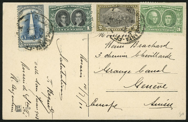 Lot 909 - Argentina postal history -  Guillermo Jalil - Philatino Auction # 2113 ARGENTINA: