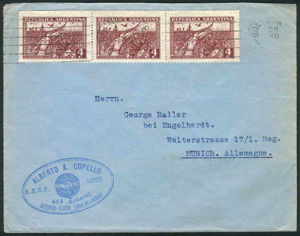 Lot 985 - Argentina postal history -  Guillermo Jalil - Philatino Auction # 2113 ARGENTINA: