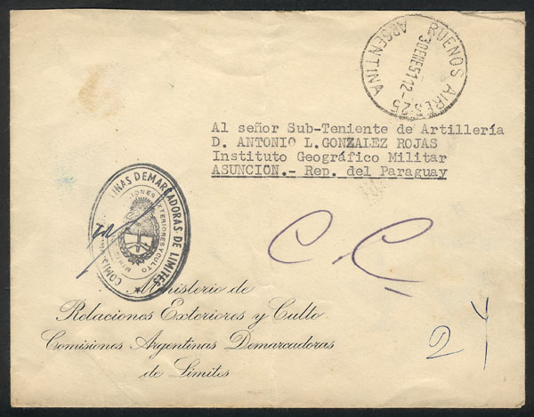 Lot 954 - Argentina postal history -  Guillermo Jalil - Philatino Auction # 2113 ARGENTINA: