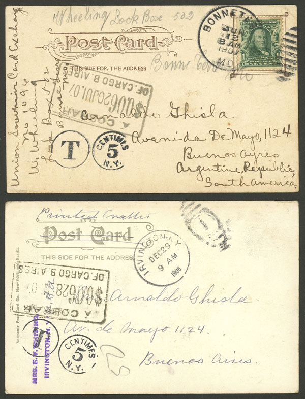 Lot 1791 - Argentina postal history -  Guillermo Jalil - Philatino Auction # 2116 ARGENTINA: