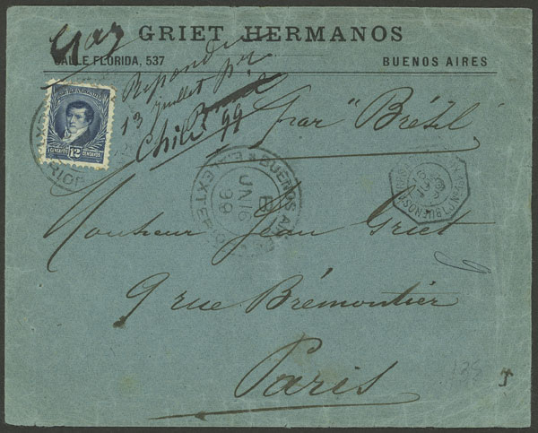 Lot 1783 - Argentina postal history -  Guillermo Jalil - Philatino Auction # 2116 ARGENTINA:
