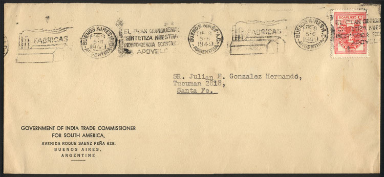 Lot 1840 - Argentina postal history -  Guillermo Jalil - Philatino Auction # 2116 ARGENTINA: