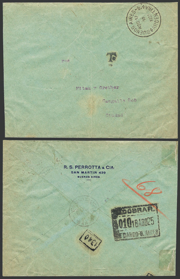 Lot 1805 - Argentina postal history -  Guillermo Jalil - Philatino Auction # 2116 ARGENTINA:
