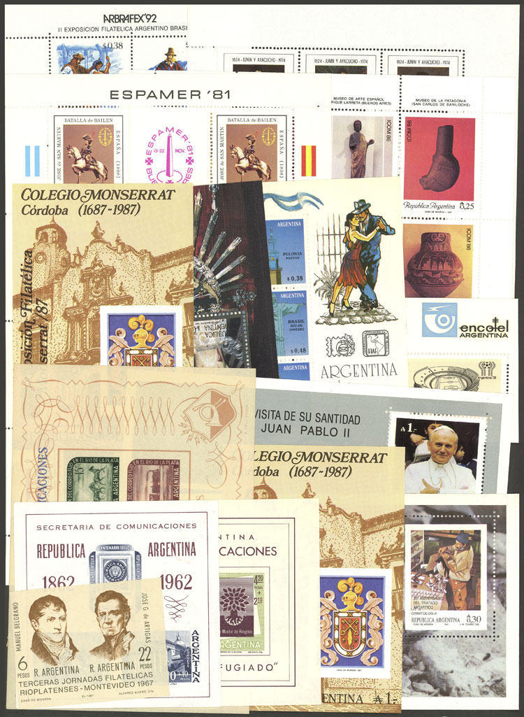 Lot 1444 - Argentina souvenir sheets -  Guillermo Jalil - Philatino Auction # 2117 ARGENTINA: small but very attractive auction