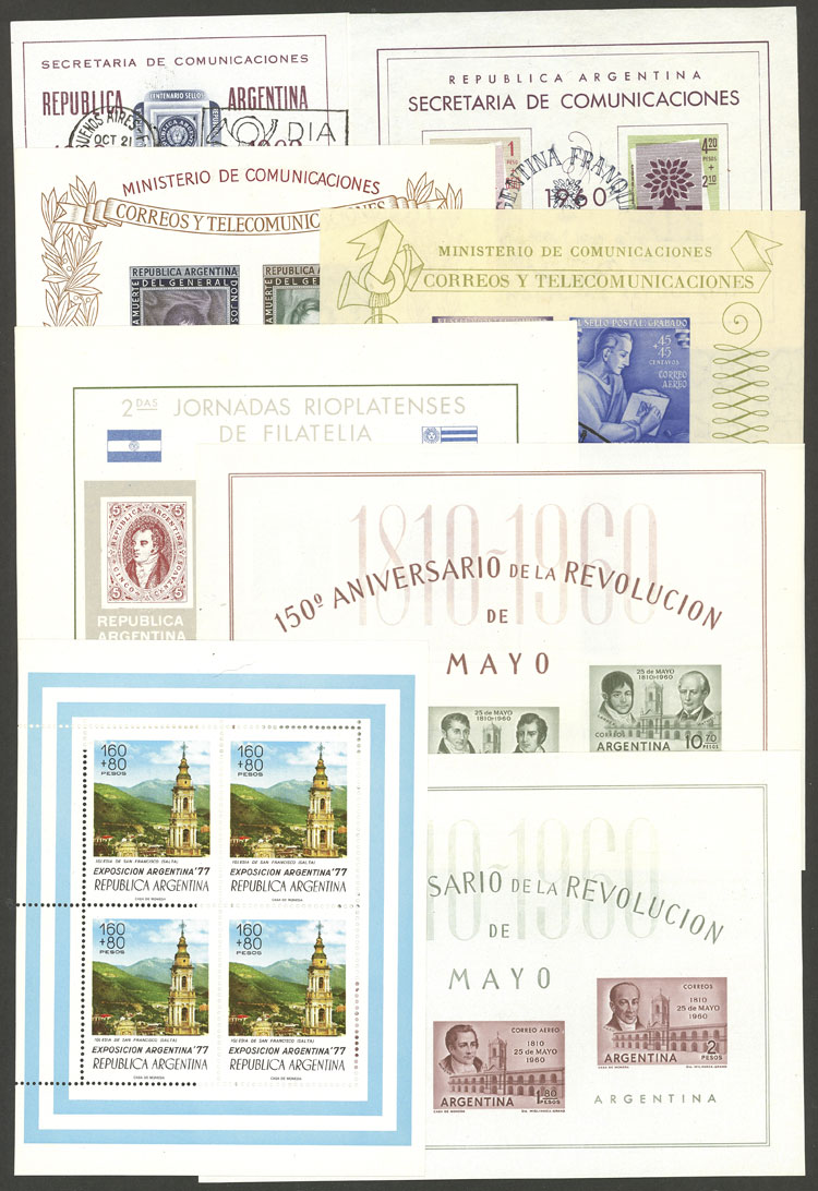 Lot 1443 - Argentina souvenir sheets -  Guillermo Jalil - Philatino Auction # 2117 ARGENTINA: small but very attractive auction