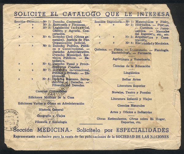 Lot 1658 - Argentina postal history -  Guillermo Jalil - Philatino Auction # 2117 ARGENTINA: small but very attractive auction