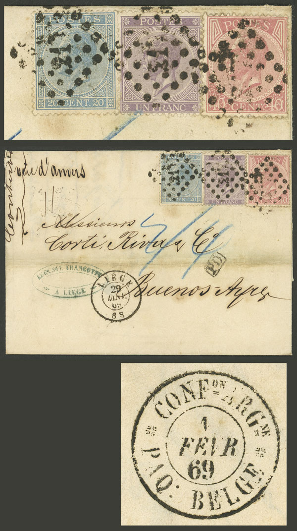 Lot 1266 - Belgium postal history -  Guillermo Jalil - Philatino Auction # 2120 WORLDWIDE + ARGENTINA: General June auction