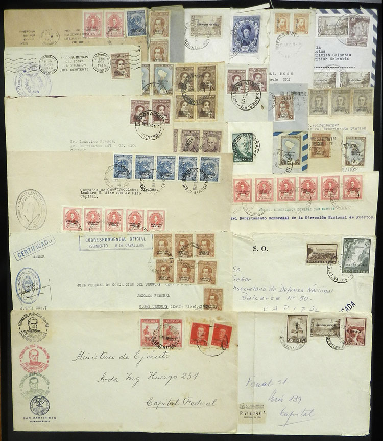 Lot 794 - Argentina official stamps - postal history -  Guillermo Jalil - Philatino Auction # 2120 WORLDWIDE + ARGENTINA: General June auction