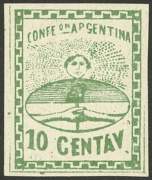 Lot 5 - Argentina confederation -  Guillermo Jalil - Philatino Auction # 2121 ARGENTINA: Special auction,118 lots with VERY LOW STARTS!!
