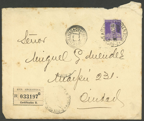 Lot 2000 - Argentina postal history -  Guillermo Jalil - Philatino Auction # 2122 ARGENTINA: