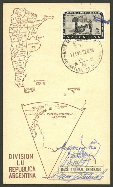 Lot 8 - argentine antarctica postal history -  Guillermo Jalil - Philatino Auction # 2122 ARGENTINA:
