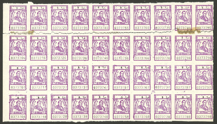 Lot 2134 - Argentina revenue stamps -  Guillermo Jalil - Philatino Auction # 2122 ARGENTINA: