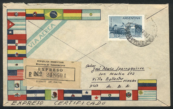 Lot 2054 - Argentina postal history -  Guillermo Jalil - Philatino Auction # 2122 ARGENTINA: