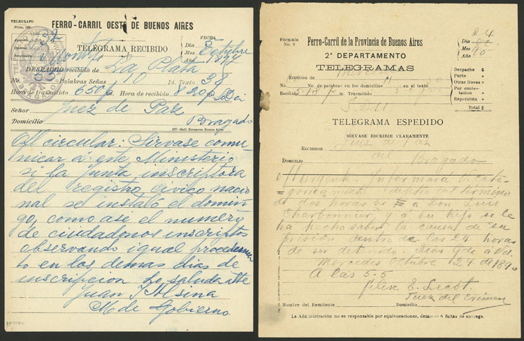 Lot 138 - Argentina postal history -  Guillermo Jalil - Philatino Auction # 2123 ARGENTINA: Special July auction!