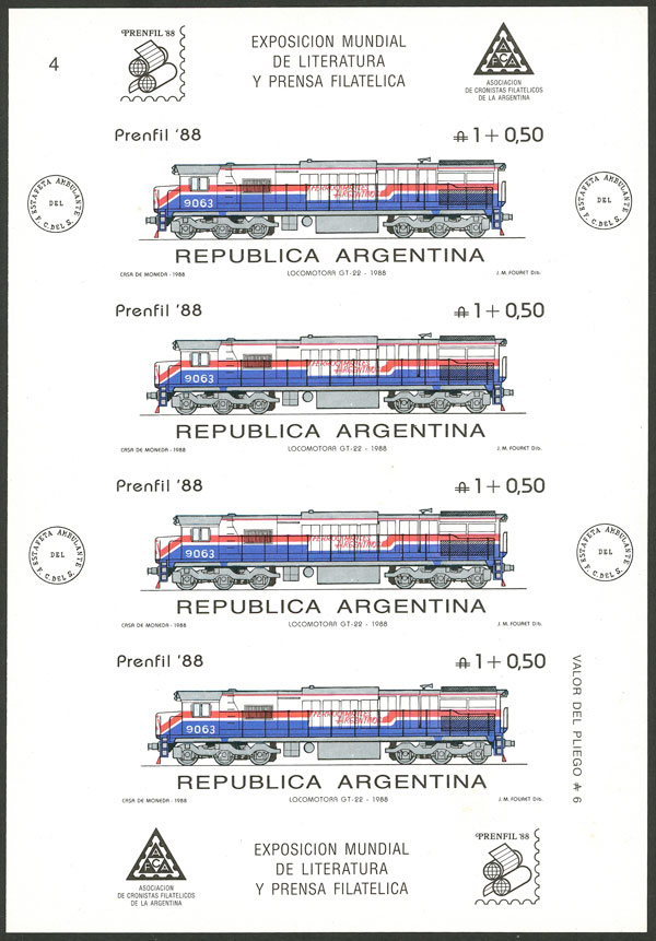 Lot 1133 - Argentina souvenir sheets -  Guillermo Jalil - Philatino Auction # 2124 ARGENTINA: very attractive auction